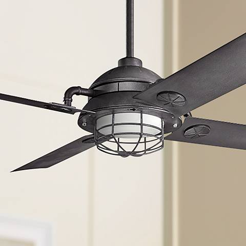 "65"" Kichler Maor LED Distressed Black Ceiling Fan"