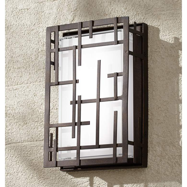 "Modern Lines 9 1/4"" High Bronze LED Outdoor"