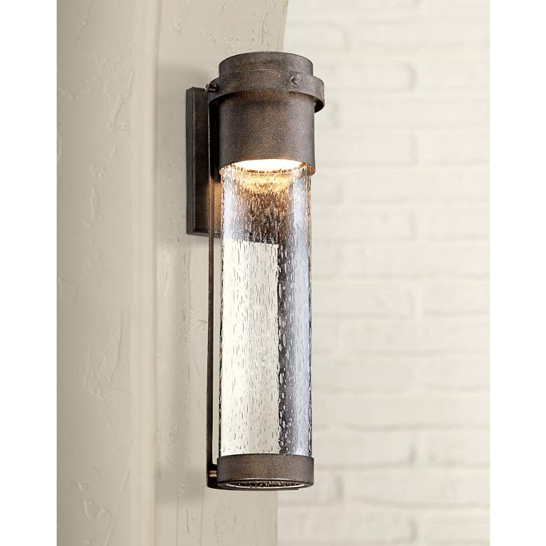 "Rames Seedy Glass 16 1/4""H Bronze LED Outdoor Wall Light"