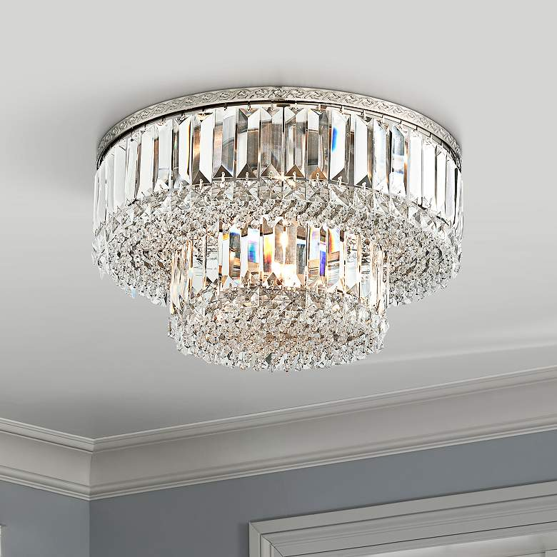 Magnificence Satin Nickel 16 Wide Crystal Ceiling Light
