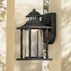 "Westray 11 1/2""H Black Motion Sensor LED Outdoor Wall Light"