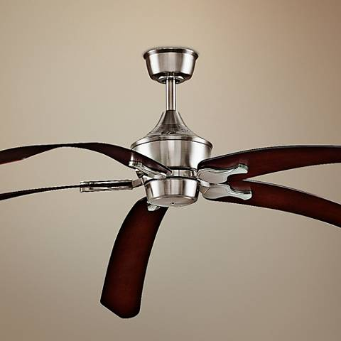 "80"" Big Island Brushed Nickel Mahogany Curved Ceiling Fan"