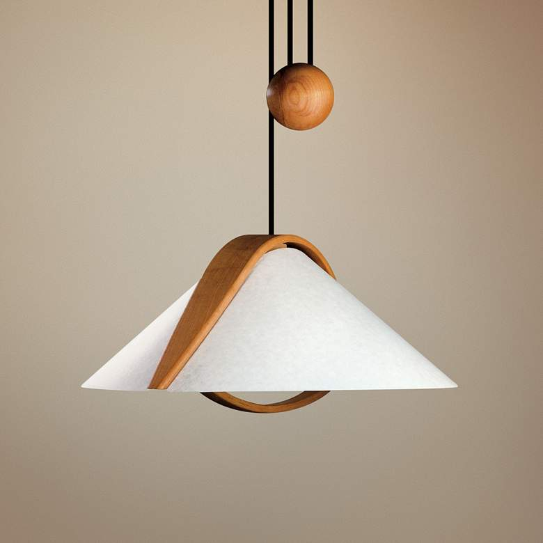 "Justice Design Domus™ Arta 22"" W Beech Wood Pendant Light"