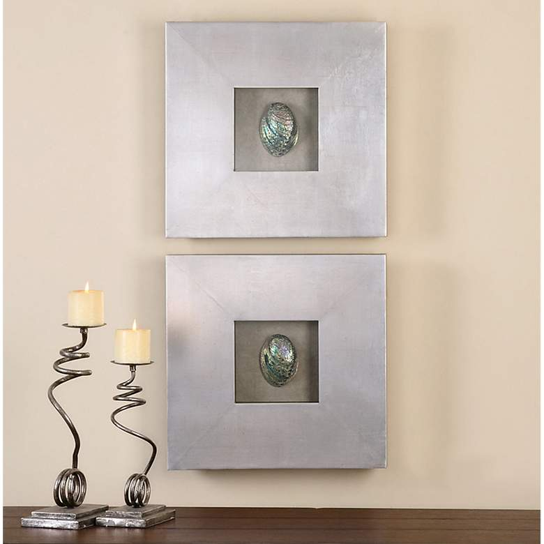 "Uttermost Abalone Shells 20"" Square Wall Art Set of 2"