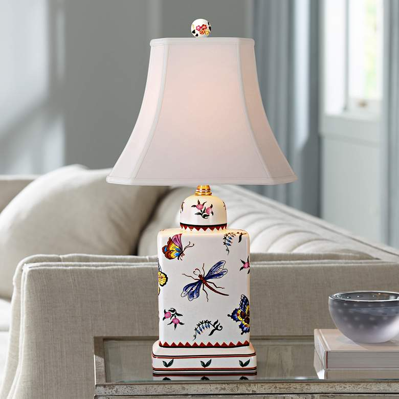 Butterfly Multicolor Porcelain Tea Jar Accent Table Lamp