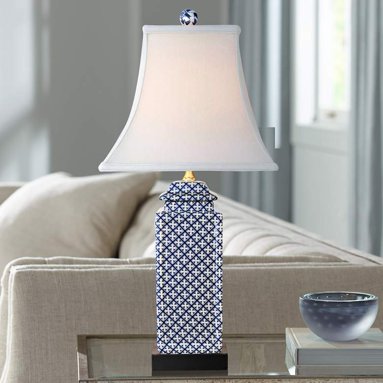 Balintore Blue and White Porcelain Jar Table Lamp