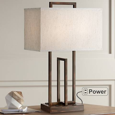 Lite Source Farren 2-Outlet Dark Bronze Table Lamp