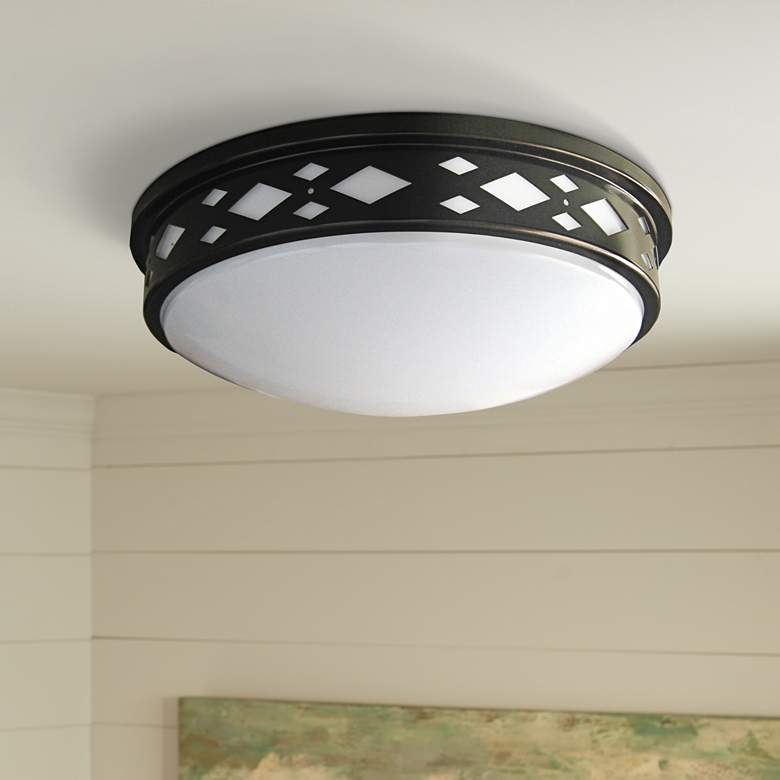 "Fitzgerald 14""W Bronze Diamond LED Ceiling Light"