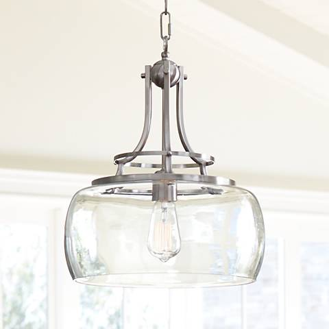 charleston 13 1 2 wide brushed nickel led pendant light 7p203