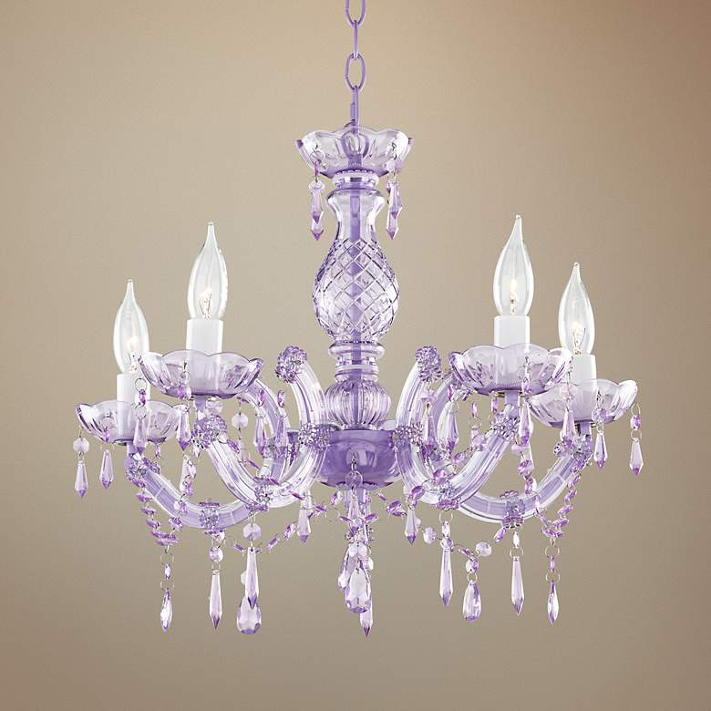 "Prima Light Purple 19"" Wide Plug-In Swag Chandelier"