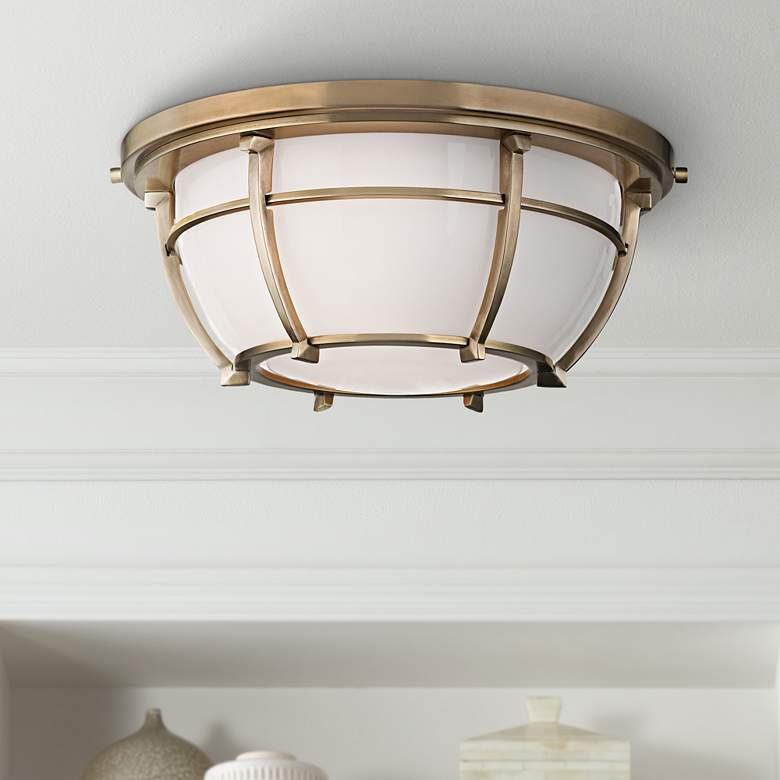 "Hudson Valley Conrad 11 3/4""W Aged Brass Ceiling"