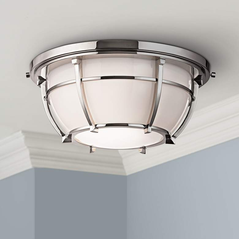 "Hudson Valley Conrad 11 3/4""W Nickel Ceiling Light"