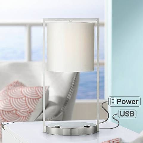 Rikki Metal Table Lamp with USB Port and Utility Plug