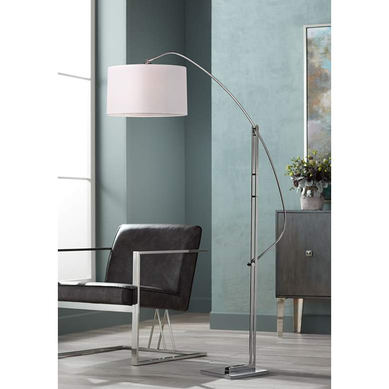 Assissi Adjustable Height Modern Nickel Floor Lamp
