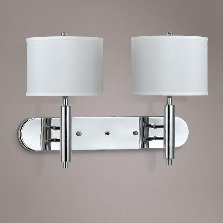 Cal Lighting Chrome 2-Light Plug-In Wall Lamp