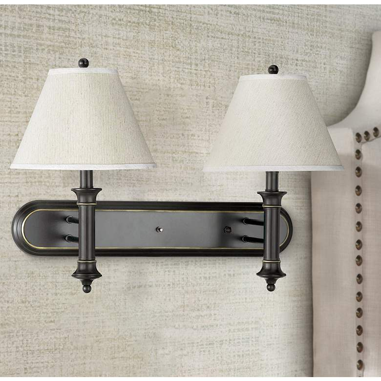 Cal Lighting Dark Bronze 2-Light Plug-In Wall Lamp