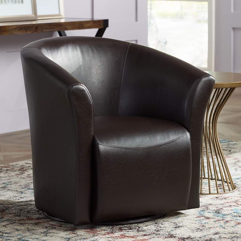 Elements Rocket Rivera Brown Swivel Accent Chair