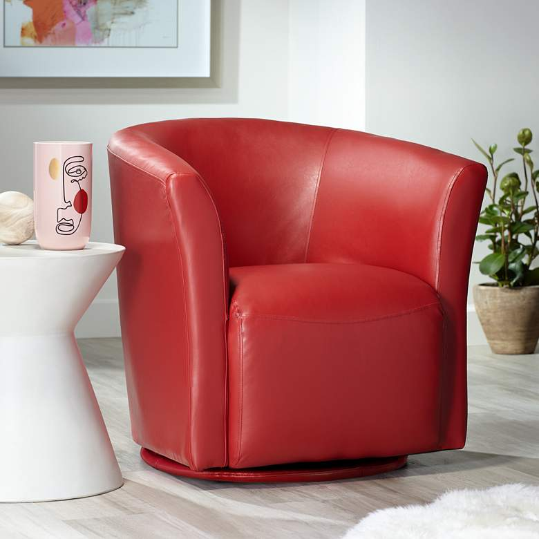 Rocket Rivera Red Swivel Accent Chair