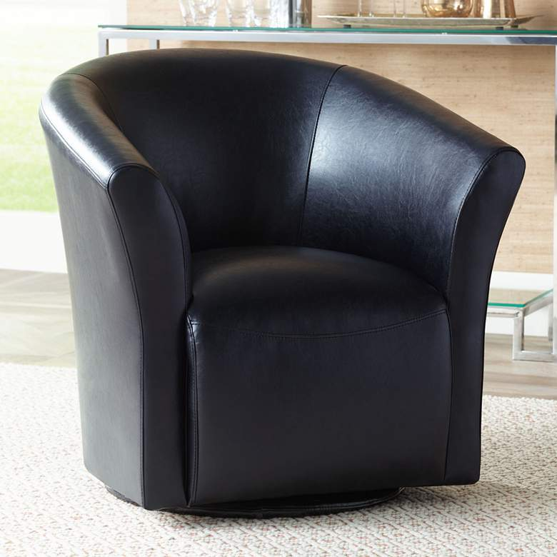 Rocket Rivera Black Swivel Accent Chair