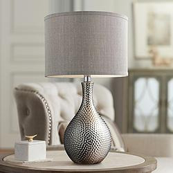 Hammered Chrome Ceramic Table Lamp