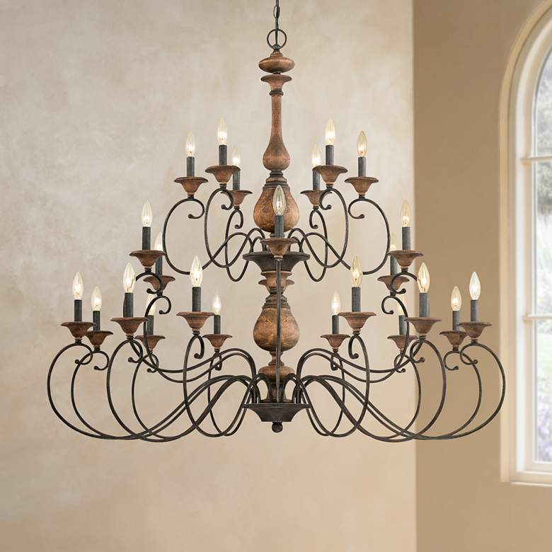 "Quoizel Auburn 48"" Wide 24-Light Rustic Black Chandelier"
