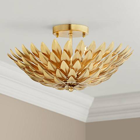 "Crystorama Broche 16"" Wide Antique Gold Ceiling Light"