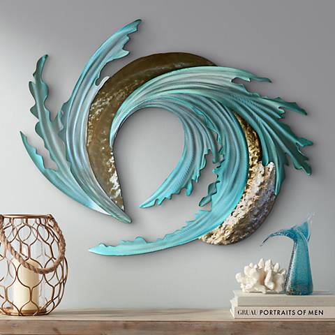 "Sand and Sea 38"" Wide Metal Wall Art"
