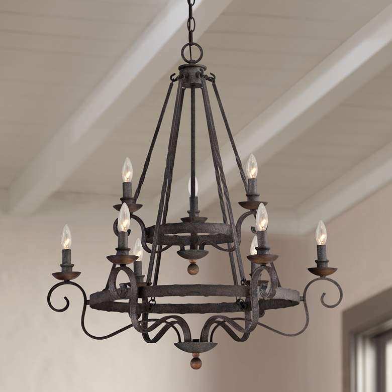 "Quoizel Noble 32"" Wide Rustic Black Chandelier"
