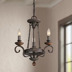 "Quoizel Noble 15"" Wide Rustic Black Mini Chandelier"