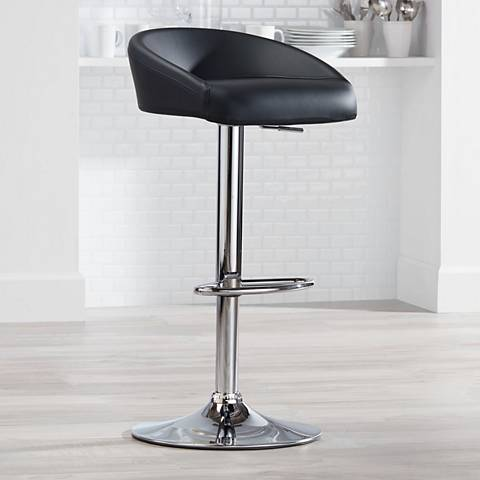 Fargo Black Faux Leather Adjustable Swivel Bar Stool