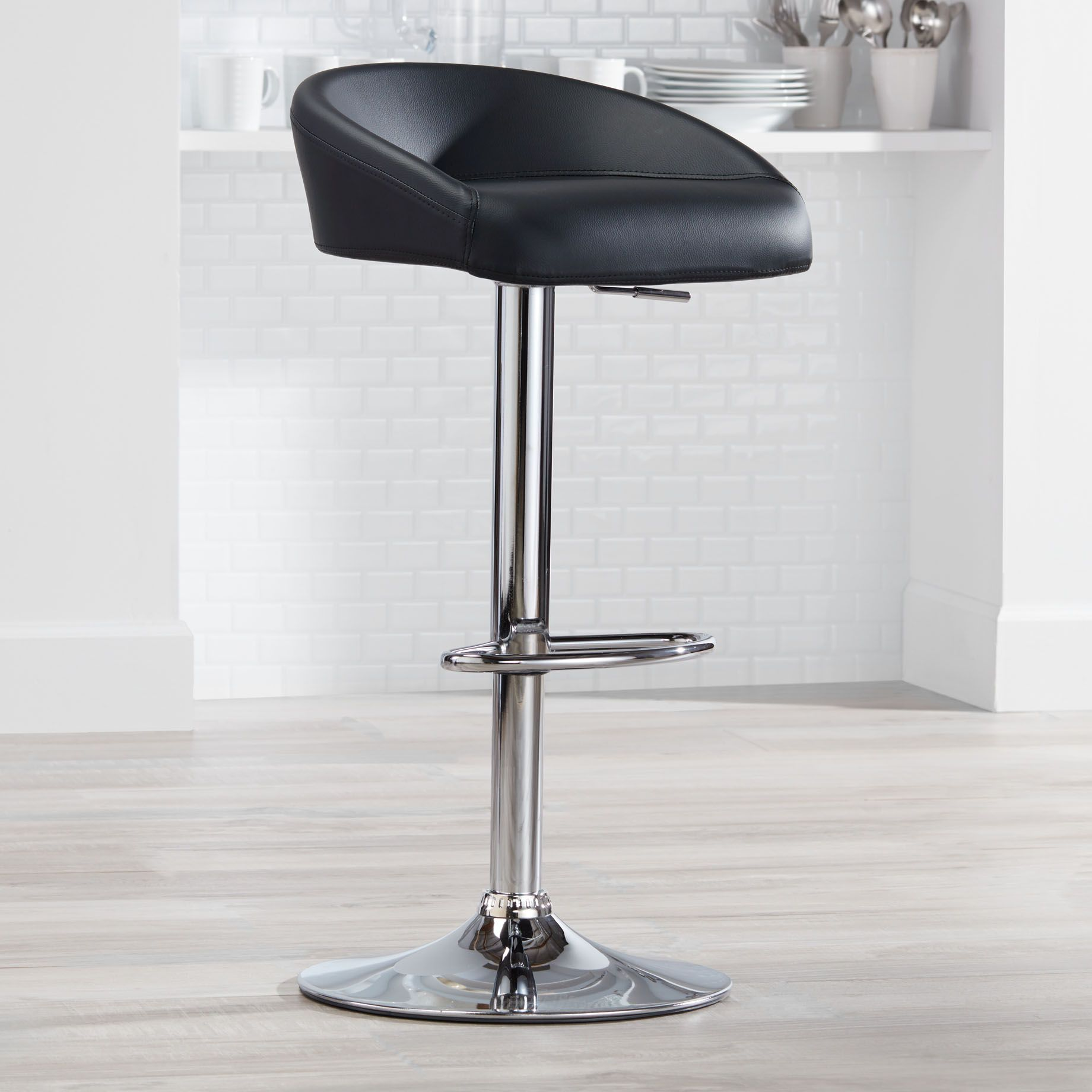 Merveilleux Fargo Black Faux Leather Adjustable Swivel Bar Stool