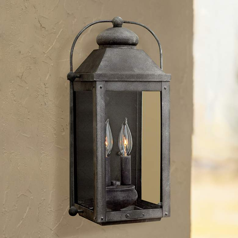 "Anchorage 9 1/4""W Aged Zinc Two Candle Outdoor"