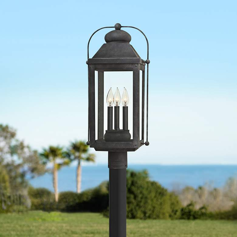 "Anchorage 24 1/4"" High Aged Zinc Outdoor Post"
