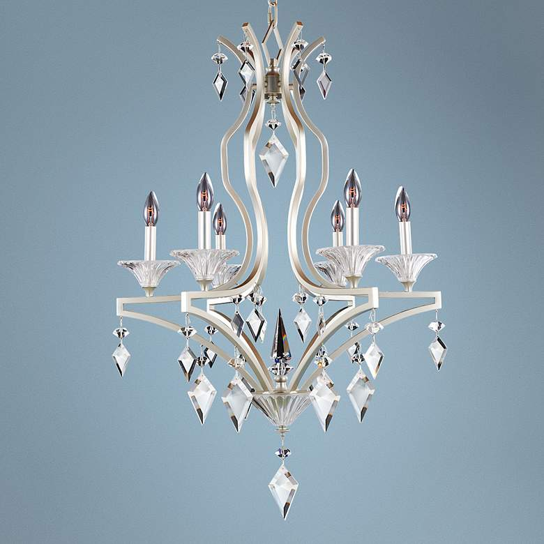"Florence Tarnished Silver 26""W 6-Light Crystal Chandelier"