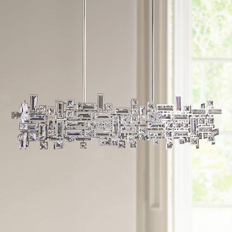 "Vermeer 35""W Polished Chrome Kitchen Island Light Pendant"