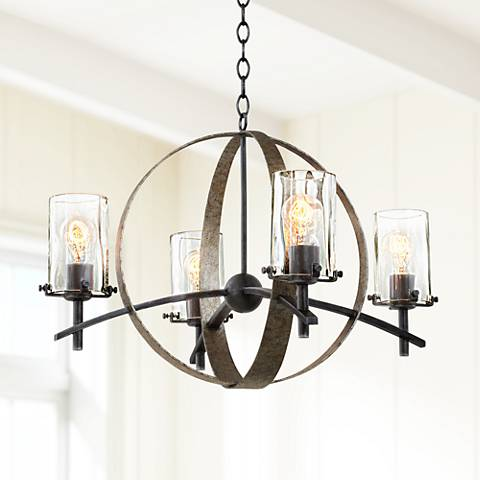 "Irvine Vintage Iron 26 1/2"" Wide 4-Light Chandelier"