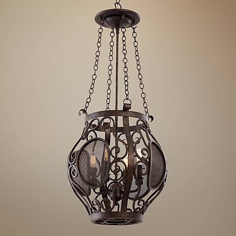 "Isabel Oxidized Copper 14 1/2"" Wide 4-Light Lantern Pendant"