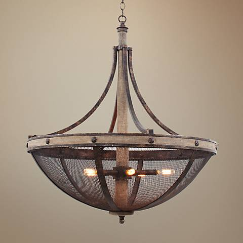 "Coronado Florence Gold Wrought Iron 31""W 6-Light Pendant"