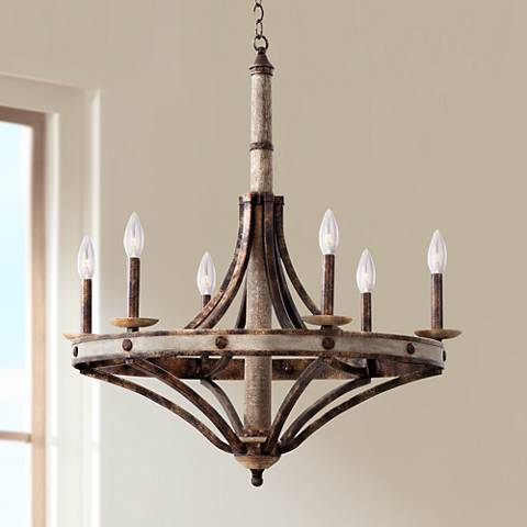 "Coronado Florence Gold Wrought Iron 30""W 6-Light Chandelier"