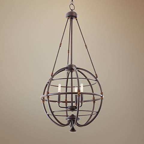 "Larson Tawny Port 20""W Forged Iron Open Cage Pendant"