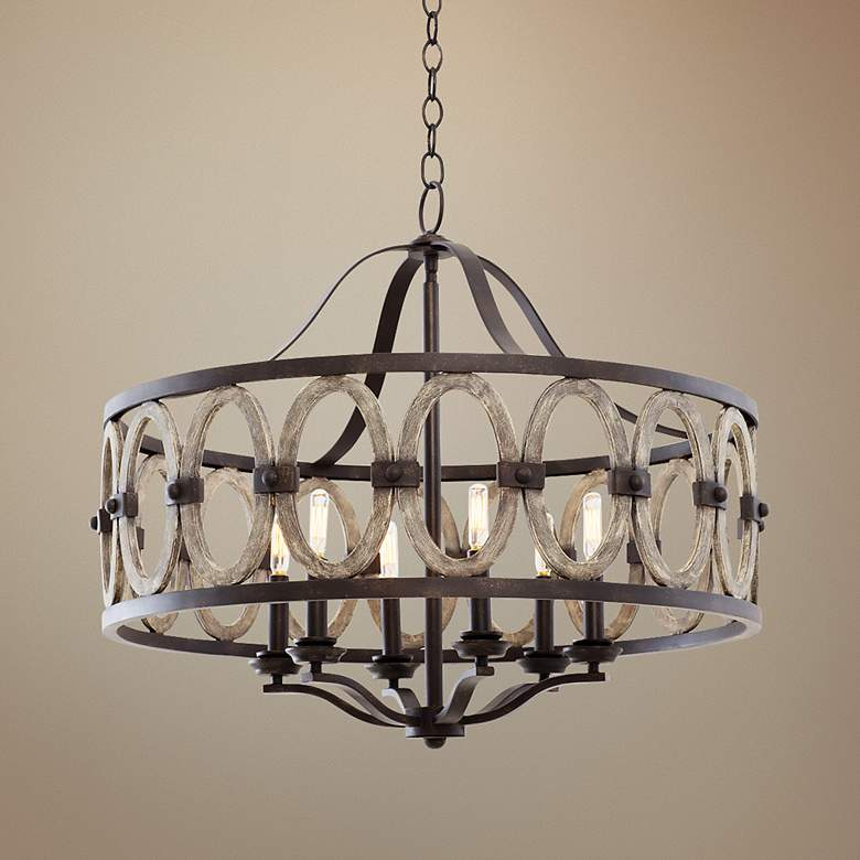 "Belmont Florence Gold 28 1/2""W Wrought Iron Chandelier"