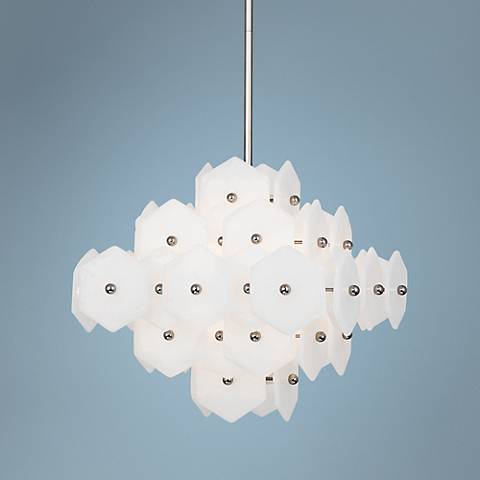 "Jonathan Adler Vienna 20"" Wide White Glass Pendant"