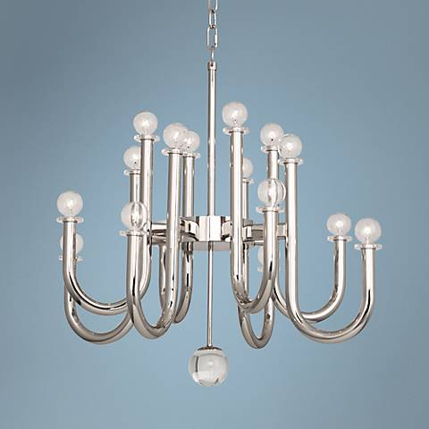 "Jonathan Adler Milano 28"" Wide Polished Nickel Chandelier"