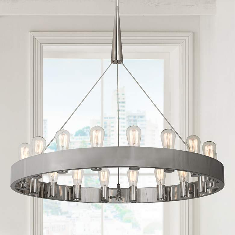 "Candelaria 35"" Wide Nickel Finish Modern Ring Chandelier"