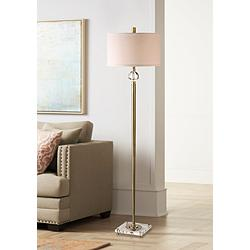 Uttermost Mesita Brushed Brass Metal Floor Lamp