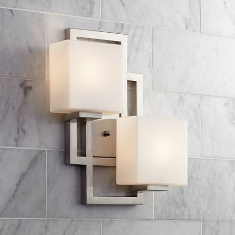 "Lighting on the Square 15 1/2""H Brushed Steel Wall Sconce"