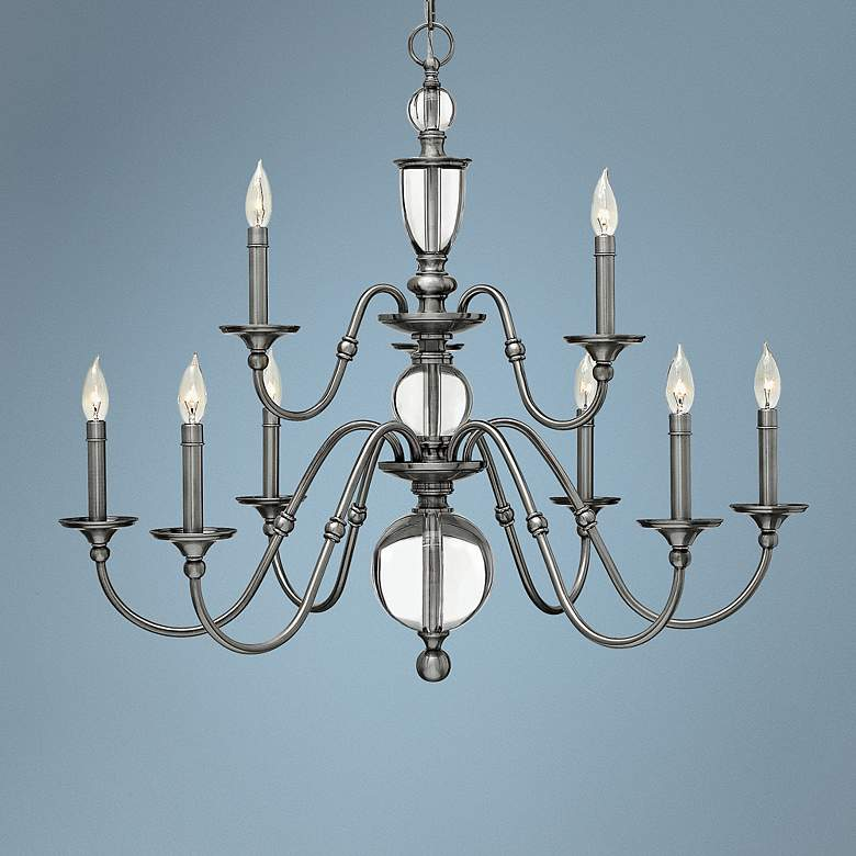 "Hinkley Eleanor 35 1/4""W Antique Nickel 9-Light Chandelier"