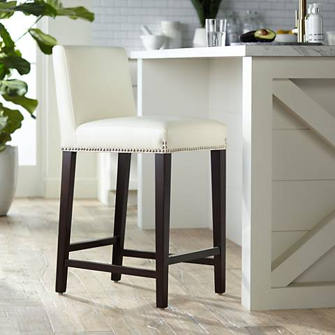 Brooke 25 12 Ivory Bonded Leather Counter Stool 7w909 Lamps Plus