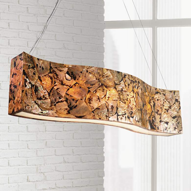 "Varaluz Big 48""W Chocolate Tiger Shell Linear Chandelier"