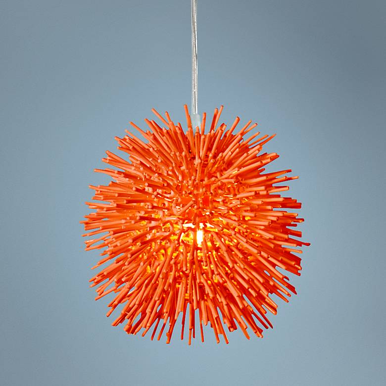 "Varaluz Urchin 6 1/4""W Electric Pumpkin Mini Pendant"